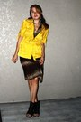 Brown-halter-cotton-dress-mustard-ss-trench-jacket-tan-feather-earrings