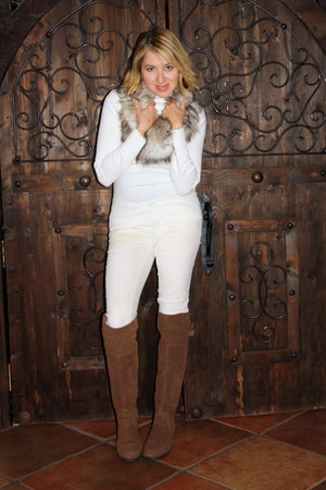 white turtleneck Gap sweater - light brown otk Shoedazzle boots