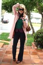 Brown-slouchy-leather-via-spiga-boots-pink-trench-coat-newport-news-coat