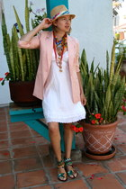 light pink silk blazer Forever 21 jacket - ivory dress