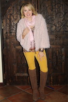 light pink shaggy blush Forever 21 coat - light brown otk Shoedazle boots