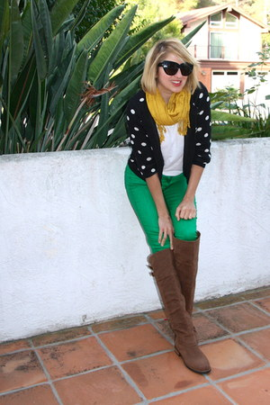 mustard mustard TJ Maxx scarf - light brown over the knee Shoedazzle boots