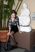 polka dot sheer Forever 21 tights - sequin mini skirt