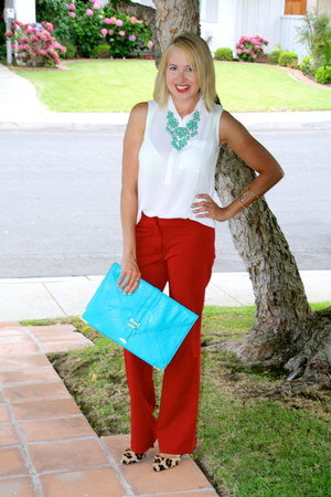 flared Forever 21 pants - clutch asos purse - Forever 21 blouse