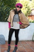 camel cape Forever 21 coat - heather gray boots - hot pink beret Forever 21 hat