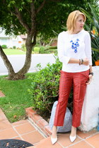 blue cuff and wrap Stella & Dot bracelet - ruby red silk cropped J Crew pants