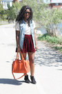 Sky-blue-denim-vero-moda-vest-brick-red-velvet-joe-fresh-skirt