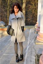 studded Zara boots - Zara coat - black Zara shorts - Zara t-shirt