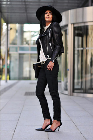 skinny H&amp;M jeans - fedora H&amp;M hat - biker H&amp;M jacket - H&amp;M belt