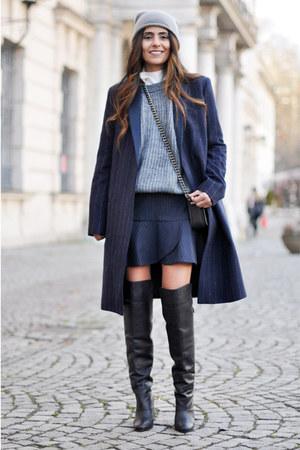 navy pinstripe Mango coat - black H&M boots - silver beanie Topshop hat