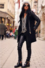 Buckle-cut-out-balenciaga-boots-leather-sleeved-zara-coat-beanie-topshop-hat