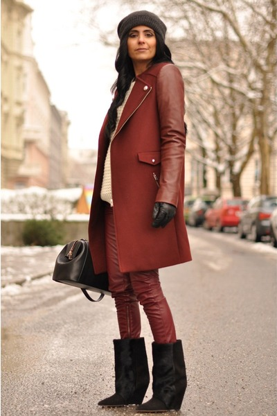 maroon biker Zara coat - black lazio Isabel Marant boots - black H&amp;M hat