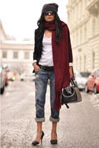 blue boyfriend Zara jeans - black H&M hat - black boyfriend Zara blazer