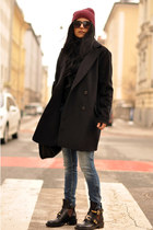 black derby cut out balenciaga boots - black boyfriend Mango coat