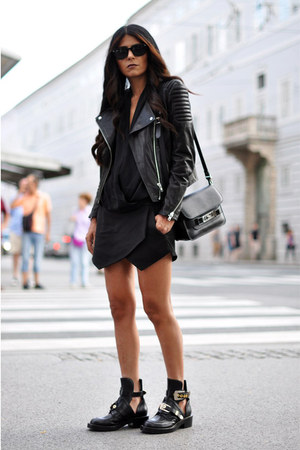 black cut out balenciaga boots - black leather H&M jacket