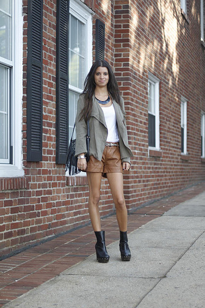 leather vintage shorts - suede Dolce Vita boots - cotton vintage jacket