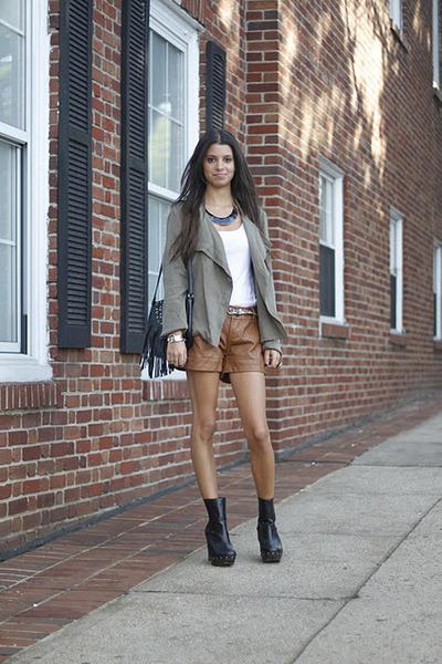 leather vintage shorts - suede Dolce Vita boots - cotton vintage jacket