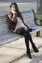 wool vince sweater - suede Dolce Vita boots - leather vintage jacket