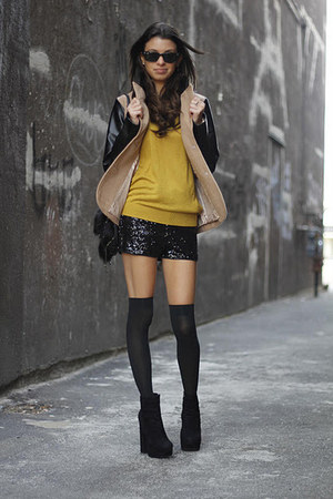 sequin vintage shorts - suede Dolce Vita boots - Forever 21 jacket