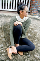 cotton on sweater - Ray Ban sunglasses - Zara top - cotton on loafers