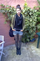 black Toej & Sko boots - green H&M leggings - blue diy vintage shorts - black DI