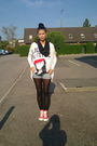 Black-vila-leggings-red-converse-shoes-blue-diy-sisters-point-shorts-white