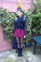 black Toej & Sko boots - red GINA TRICOT shirt - black GINA TRICOT blouse - blac