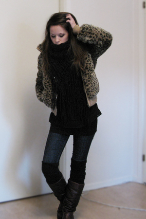 brown Topshop jacket - blue Nudie jeans - brown vintage boots - black Zara blous