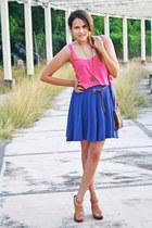 blue blue Bershka skirt - dark brown brown Bershka bag