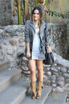 army green pull&bear coat - army green pull&bear boots - black Zara bag