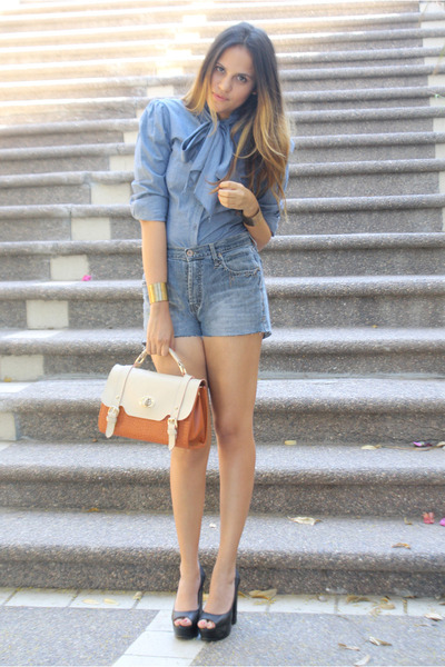 blue bow tie LOB blouse - black peep toe LOB shoes - tawny sachtel Shasa bag