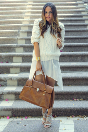bronze LOB bag - off white pull&bear sweater - ivory LOB sandals