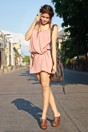 pink pink pull&amp;bear dress - black black Zara bag - dark brown wooden LOB clogs