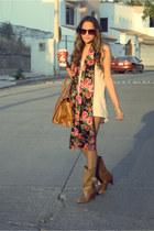 hot pink floral print barroca scarf - dark khaki basic pull&bear boots