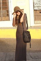 charcoal gray maxi Sthela dress - tan wool free people hat