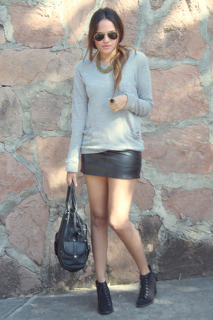 leather Bershka skirt - lace up pull&amp;bear boots - light pull&amp;bear sweater