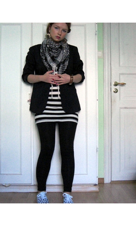 t-shirt - blazer - scarf - H&M shoes