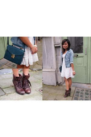 blue Primark purse - brown Tamaris boots - H&M dress