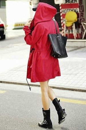 red parka Urban Weather coat - black buckle Aldo boots