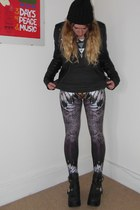 leather Topshop Boutique jacket - lovely sally leggings - Forever 21 necklace