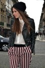 Leather-mango-jacket-white-zara-shirt-striped-mango-pants