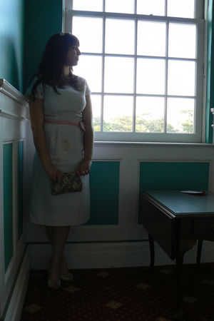 pink vintage dress - green vintage accessories - beige Steve Madden shoes