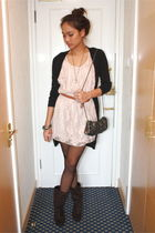 black Giodano sweater - brown LYN boots - pink Zara dress - black Jaspal purse -