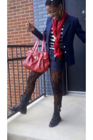 red red scarf - black combat boots - navy gold buttoned shorts