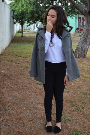 pull&bear coat - H&M leggings - Bershka blouse