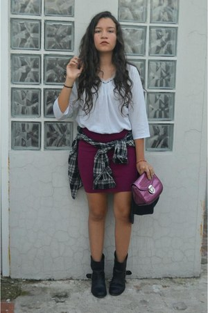 plaid shirt Forever 21 shirt - Zara boots - Nine West purse - Max Mara skirt