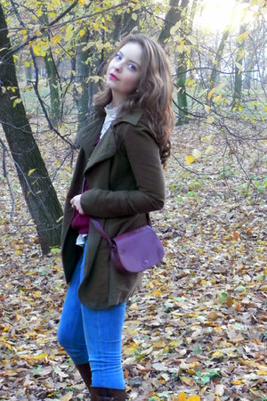 dark brown Zara boots - army green Stradivarius coat - blue H&amp;M jeans