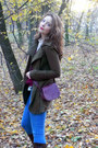 Dark-brown-zara-boots-army-green-stradivarius-coat-blue-h-m-jeans