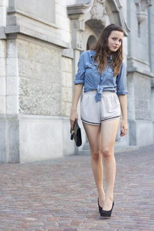 clutch H&M bag - periwinkle NTICE shorts - blue H&M blouse