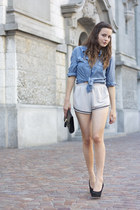 clutch H&M bag - periwinkle NTICE shorts - blue H&M blouse